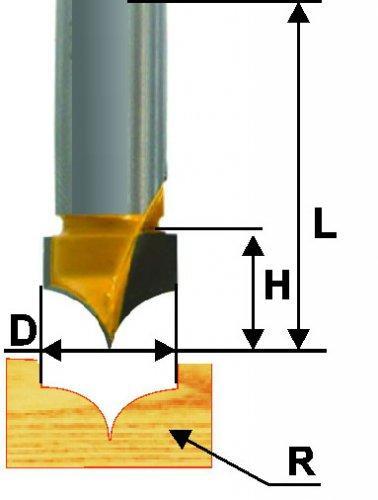 Фреза пазовая фасонная Ф19Х13 мм R9,5 мм, хвостовик 12 мм
