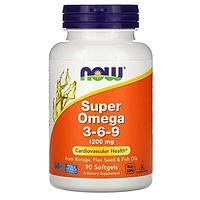 Now Foods, комплекс «Супер Омега 3-6-9», 1200 мг, 90 капсул