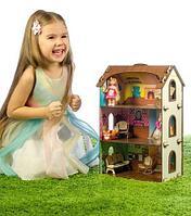 Кукольный домик - конструктор из дерева с набором декоративных наклеек («Лоли»)