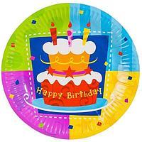 Веселая затея: Тарелка бум Торт Birthday 17см 6шт