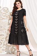 Женское летнее хлопковое черное большого размера платье Vittoria Queen 13983/1 черный 58р.