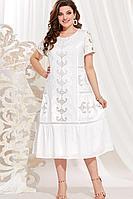 Женское летнее хлопковое белое большого размера платье Vittoria Queen 13983/2 белый 50р.