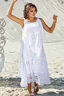 Женское летнее хлопковое белое большого размера платье Vittoria Queen 12023 белый 50р.
