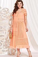 Женское летнее хлопковое оранжевое нарядное большого размера платье Vittoria Queen 13873 персик 50р.