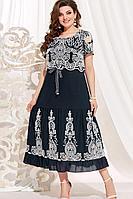 Женское летнее хлопковое синее нарядное большого размера платье Vittoria Queen 13843 темно-синий 50р.