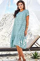 Женское летнее хлопковое бирюзовое нарядное большого размера платье Vittoria Queen 12623 бирюза 50р.