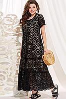 Женское летнее хлопковое черное нарядное большого размера платье Vittoria Queen 13943 телесный-бежевый 50р.