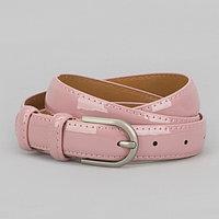 Ремень женский, 2 строчки, пряжка металл, ширина - 2,3 см, цвет розовый