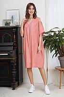 Женское летнее из вискозы розовое большого размера платье Fantazia Mod 3933 50р.