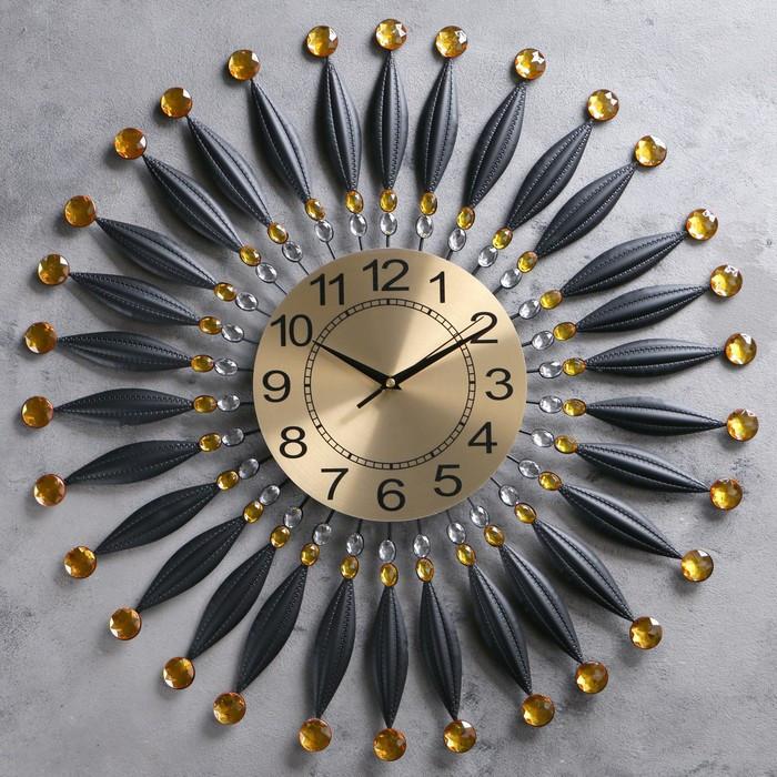 """Часы настенные, серия: Ажур, """"Сферы"""", черные лепестки, циферблат под золото, d=60 см"""