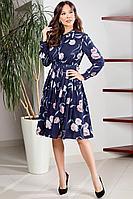 Женское осеннее шифоновое синее большого размера платье Teffi Style L-1538 сапфировый 48р.