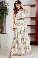 Женское летнее шифоновое большого размера платье Teffi Style L-1566 нежно_желтый 50р.