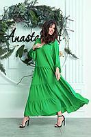 Женское летнее зеленое большого размера платье Anastasia 626 ярко-зеленый 52р.