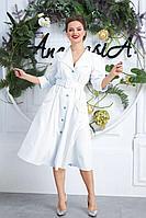 Женское летнее белое большого размера платье Anastasia 599 молочный+голубая_точка 56р.
