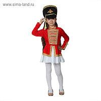 """Карнавальный костюм """"Мажоретка"""", китель, кивер, юбка, р-р 30, рост 110-116 см"""
