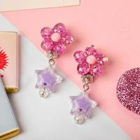 Клипсы детские 'Выбражулька' цветок и звёздочка блестящие, цвет МИКС