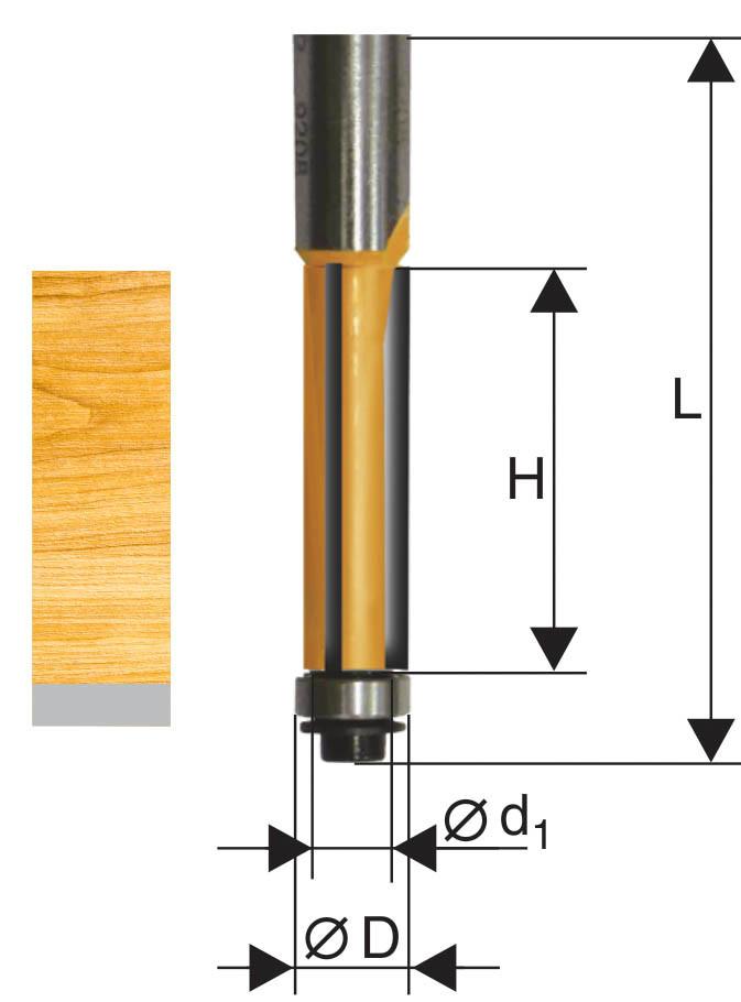 Фреза кромочная прямая ф12,7х38мм хв. 12мм