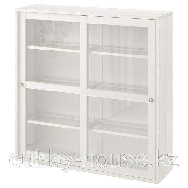 ХАВСТА Шкаф-витрина, темно-коричневый, 121x35x123 см