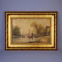 «Речной пейзаж» Автор H. Desemans (?) Холст, масло Западная Европа