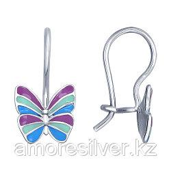Серьги SOKOLOV серебро с родием, эмаль, бабочка 94021639
