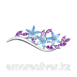 Брошь SOKOLOV серебро с родием, фианит , флора 94040117
