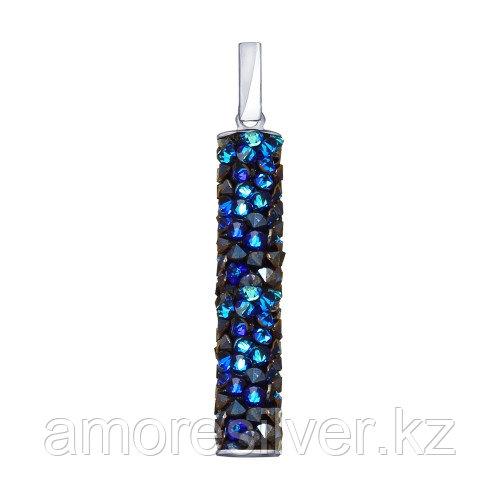 Подвеска SOKOLOV серебро с родием, кристальная трубка swarovski , многокаменка 94032189