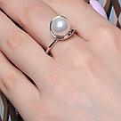 Кольцо Красная Пресня серебро с родием, жемчуг имит., , модное 2362191Д, фото 2