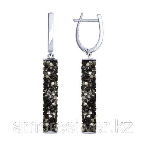 Серьги SOKOLOV серебро с родием, кристальная трубка swarovski , многокаменка 94023186