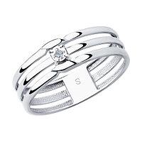 "Кольцо SOKOLOV серебро с родием, бриллиант, ""каратник"" 87010024 размеры - 17 17,5 18 18,5 19"