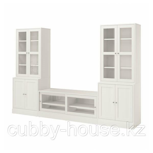 ХАВСТА Шкаф для ТВ, комбин/стеклян дверцы, белый, 322x47x212 см