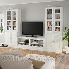 ХАВСТА Шкаф для ТВ, комбин/стеклян дверцы, белый, 322x47x212 см, фото 2