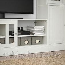 ХАВСТА Шкаф для ТВ, комбин/стеклян дверцы, белый, 322x47x212 см, фото 3
