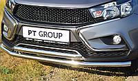 Защита переднего бампера PT GROUP 01410102 двойная 51 мм (НПС) Веста СВ Кросс 2017-