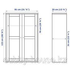 ХАВСТА Шкаф-витрина, серый, 81x35x123 см, фото 3