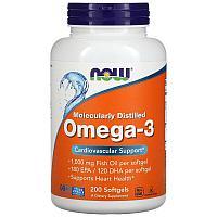 Омега-3, очищенная на молекулярном уровне, 200 капсул, Now Foods