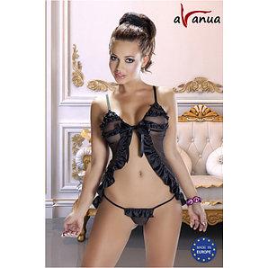 "Пеньюар со стрингами ""AGNI SET"" -  Avanua (чёрный), размер L/XL"