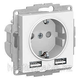 Atlas Design розетка с 2 USB A+A,5B/2,4A,2*5B/1,2A, МЕХАНИЗМ скрытая установка белый