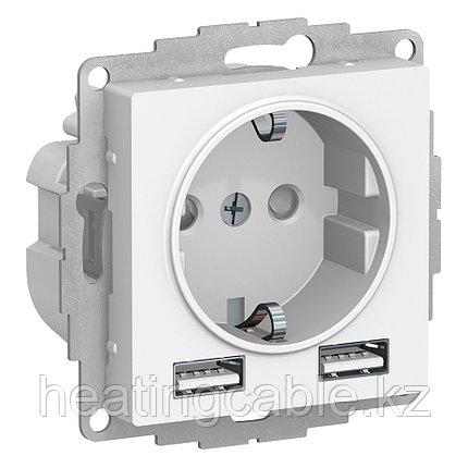 Atlas Design розетка с 2 USB A+A,5B/2,4A,2*5B/1,2A, МЕХАНИЗМ скрытая установка белый, фото 2