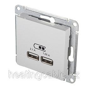 Atlas Design USB розетка А+А, 5В/2,1А,2*5В/1,05А, МЕХАНИЗМ,  скрытая установка белый