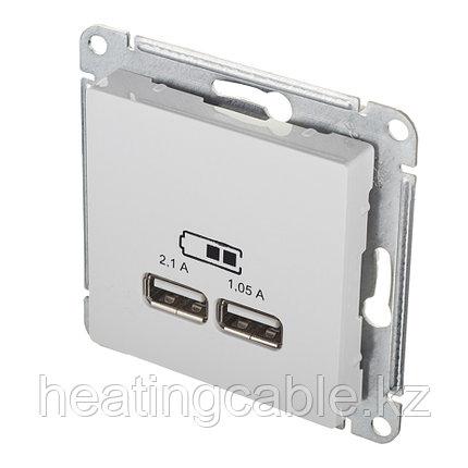 Atlas Design USB розетка А+А, 5В/2,1А,2*5В/1,05А, МЕХАНИЗМ,  скрытая установка белый, фото 2