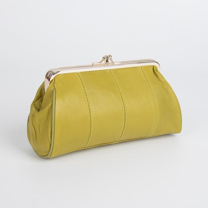 Косметичка-фермуар, 2 отдела на рамке, наружный карман, цвет горчичный