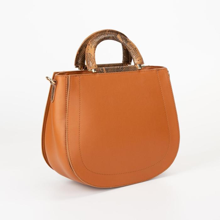 Сумка женская, отдел на молнии, наружный карман, длинный ремень, цвет коричневый