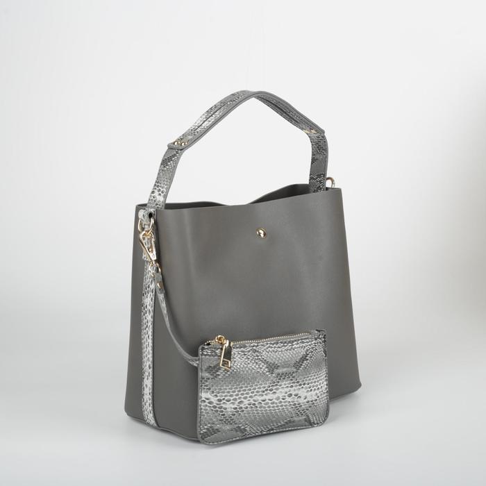 Сумка женская, отдел на молнии, 2 наружных кармана, длинный ремень, с кошельком, цвет серый