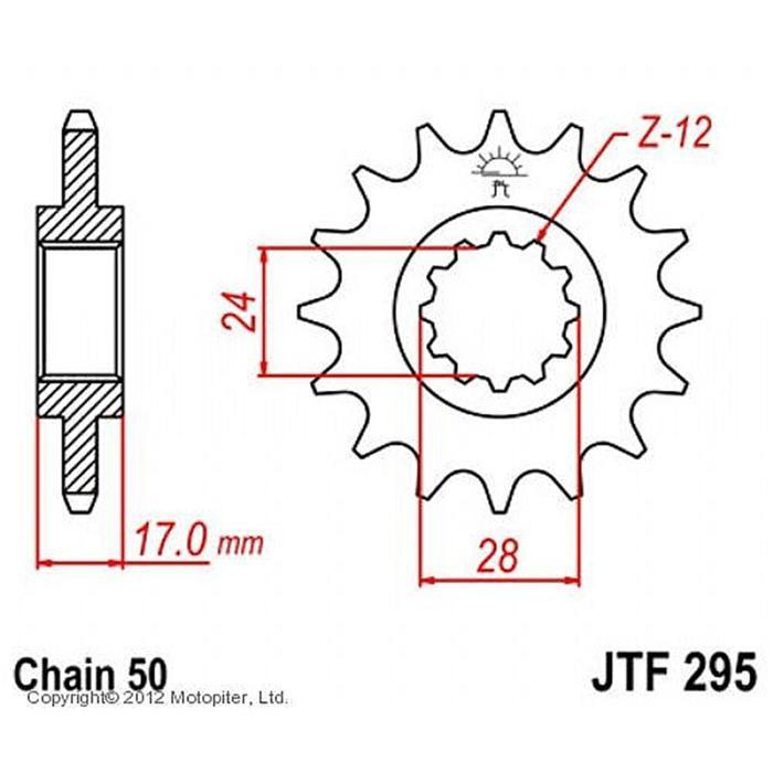Звезда передняя ведущая JTF295 для мотоцикла, стальная
