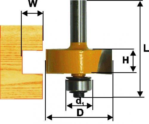 Фреза кромочная фальцевая Ф38,1Х13 мм, хвостовик 12 мм
