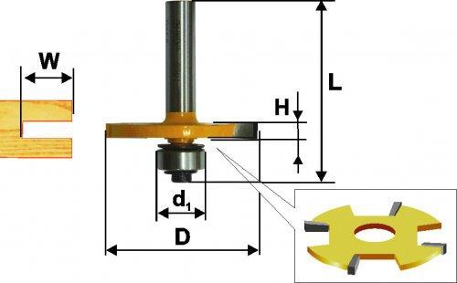 Фреза кромочная фальцевая Ф50,8Х6 мм, хвостовик 12 мм