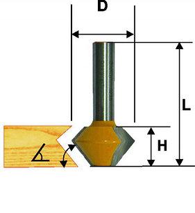 Фреза кромочная конусная Ф38,1Х22,2 мм 45°, хвостовик 12 мм