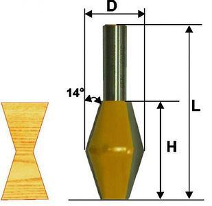Фреза кромочная конусная Ф28,6Х45 мм 14°, хвостовик 12 мм