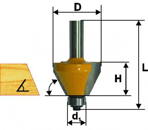 Фреза кромочная конусная Ф25,4Х10,3 мм 45°, хвостовик 8 мм