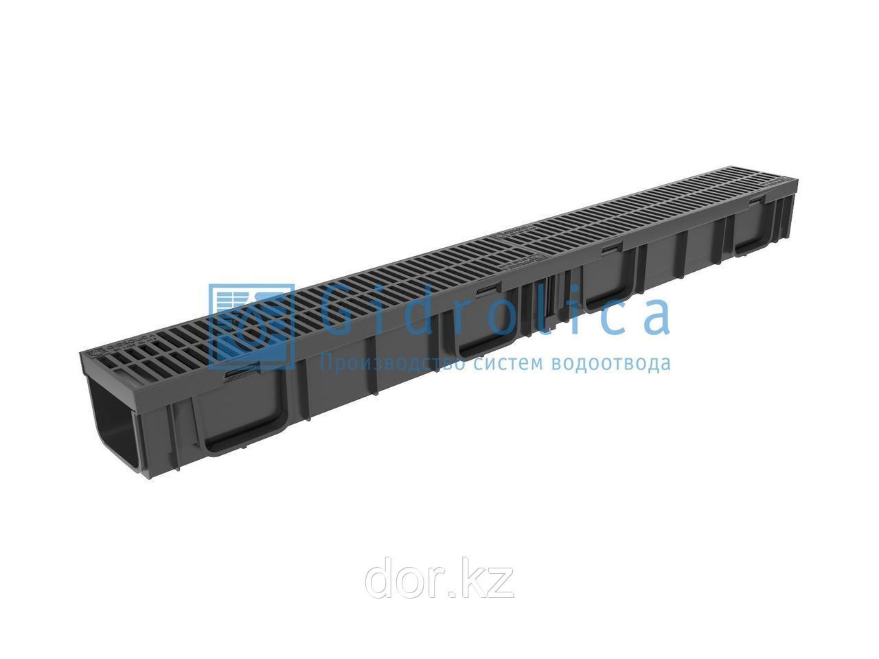Арт. 0807 Комплект Gidrolica Light: лоток водоотводный ЛВ -10.11,5.9,5 - пластиковый с решеткой РВ- 10.11.50
